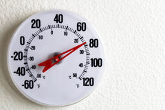 Round Thermometer on a Wall. White round thermometer on an inside wall near 80 degrees Fahrenheit Royalty Free Stock Photos