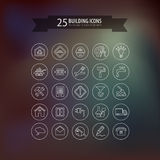Round think line building icons Royalty Free Stock Images