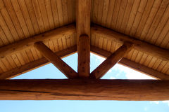 Round Timber Frame Gabel Roof Beams Stock Photo