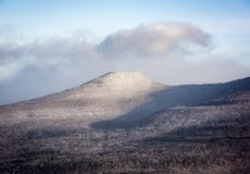 Catskill Mountain in Winter Snow. Round Top mountain in the Eastern Catskill Mountains of New York State royalty free stock image