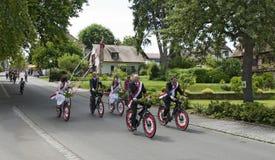 Round tour on festively decorated bikes Stock Photo