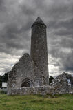 Round tower. At Temple Finghin in Clonmacnoise, Ireland stock image