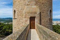 Round tower of Bellver Castle Royalty Free Stock Images