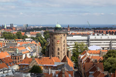 Round Tower in Copenhagen, Denmark. Copenhagen, Denmark - August 15, 2016: Aerial view of the Round Tower in the city center royalty free stock photo