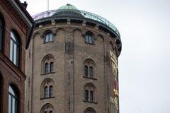 Round Tower in Copenhagen. Copenhagen, Denmark - July 30, 2017: The historical Round Tower in the city center stock images