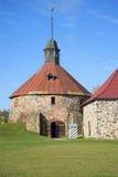 The round tower Lars Torstenson in the fortress Korela. Priozersk, Leningrad region Stock Images
