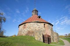 Round Tower Lars Torstensson sunny day. Korela, Priozersk Stock Photos