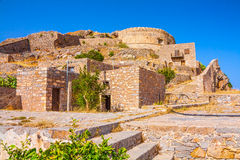 Round tower of Spinalonga fortress. Stock Image