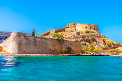 Round tower of Spinalonga fortress. Stock Photos