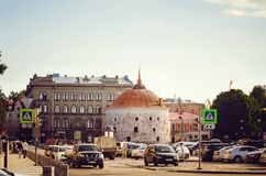 Round Tower in Vyborg, Market Square. Monument fortification XVI century royalty free stock image