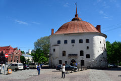 Round tower in Vyborg, Russia Stock Images