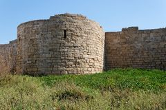 Round tower and wall of medieval castle among gras Royalty Free Stock Photo