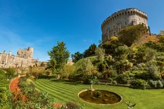 Round Tower of the Windsor Castle, Berkshire, England. Official Residence of Her Majesty The Queen. Round Tower of the Windsor Castle, Berkshire, England stock photo