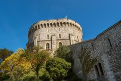 Round Tower of the Windsor Castle, Berkshire, England. Official Residence of Her Majesty The Queen. Round Tower of the Windsor Castle, Berkshire, England stock photos