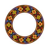 Round traditional Ukrainian ornament. Vector ethnic circular pixel pattern vector illustration