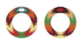 Round traditional Ukrainian ornament. S. Vector ethnic circular pixel patterns stock illustration