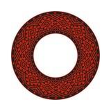 Round traditional Ukrainian ornament. Vector ethnic circular pixel pattern stock illustration