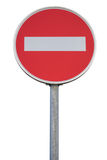 Round traffic sign for no entry with pole Royalty Free Stock Image