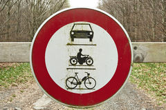 Round traffic sign, the passage of vehicles and motorcycles proh Royalty Free Stock Images
