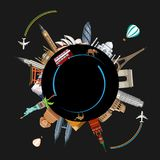 Round travel background with worldwide sights and planes. royalty free illustration