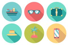 Round travel flat colour Icons Stock Image