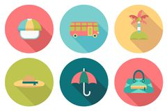 Round travel flat colour Icons Royalty Free Stock Images