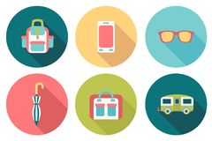 Round travel flat colour Icons Royalty Free Stock Photography