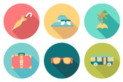 Round travel flat Icons with shadow Royalty Free Stock Image