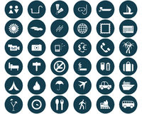 Round travel icons set stock illustration