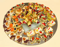 Round tray canapes Stock Photos