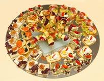 Round tray canapes Stock Photos