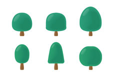 Round tree cartoon pack. Green Royalty Free Stock Photos