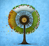 Round tree four seasons. Illustration or postcard with round tree four seasons. Computer graphics Royalty Free Stock Images