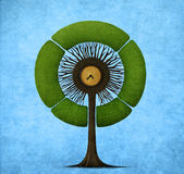 Round tree. Illustration or postcard with round tree . Computer graphics Stock Photos