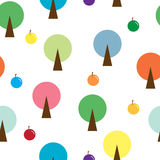 Round tree seamless pattern Royalty Free Stock Photos