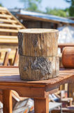 Round tree stumps on woodwork background Stock Photography