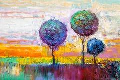 Round trees, painting stock photos