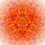 Round triangle kaleidoscope mandala background - symmetrical vector pattern design from colored triangles Stock Photos