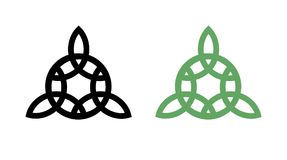 Round Triangle Wiccan Symbol. Round Celtic Wiccan Triquetra Symbol in Black and Green colors, Vector Emblem Royalty Free Stock Photos