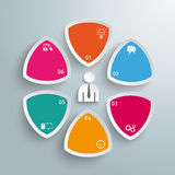 6 Round Triangles Businessman PiAd. Infographic design on the grey background. Eps 10  file Stock Photography