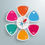 6 Round Triangles Compass Centre. Infographic design on the grey background Stock Images