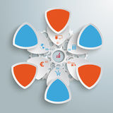 6 Round Triangles Industry Production Blue Orange. Infographic design on the grey background. Eps 10 file royalty free illustration