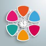 6 Round Triangles Production Hours Clock. Infographic design with clock on the gray background Royalty Free Stock Photo
