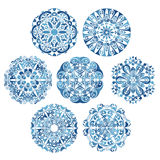 Round tribal ornaments collection. Fancy symmetric ethnic patterns in different folk painting styles. Blue mandalas set. Vector illustration Royalty Free Stock Photography