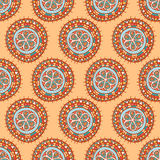 Round tribal patterns with flowers Stock Photo