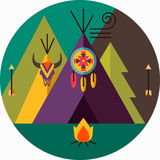Round tribal picture. Round tribal vector picture with wigwam, arrow, fir tree, animal skull, bonfire, dreamcatcher; native american Stock Image