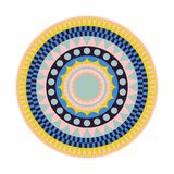 Round tribal rug with colorful shapes. stock illustration