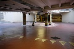 Round in underground parking Royalty Free Stock Photography