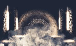 Round underground tunnel, cave, mine. Illumination by neon light. Smoke, smog, night view. 3D rendering vector illustration