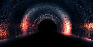 Round underground tunnel, cave, mine. Illumination by neon light. vector illustration